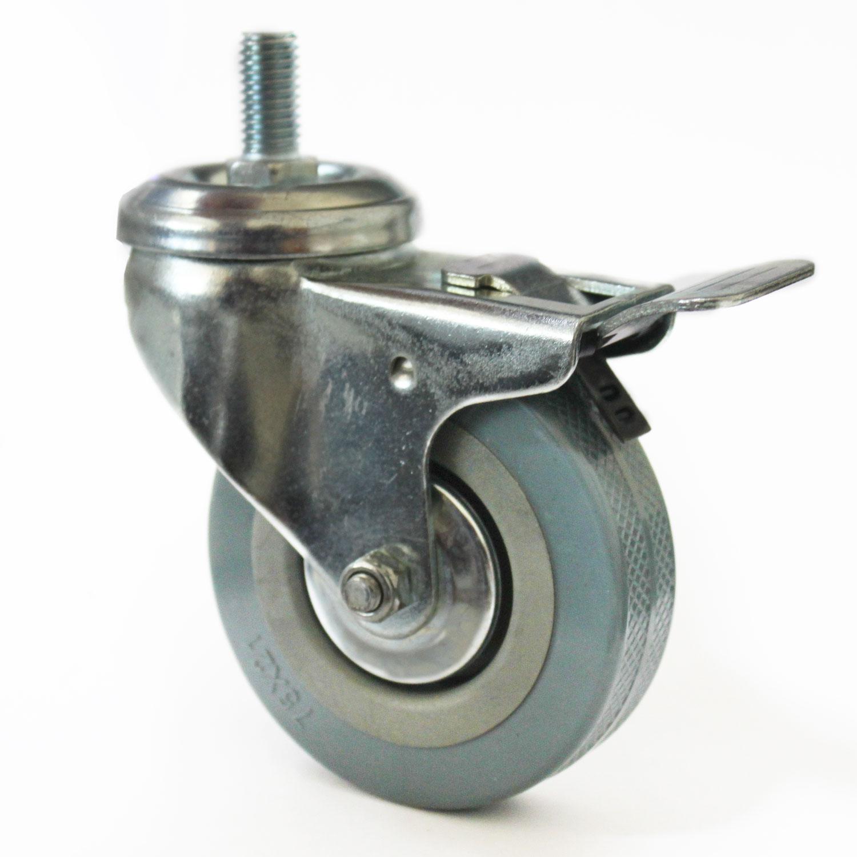 Lenkrolle 75mm, mit Bremse, Gewinde M10 x 20 mm