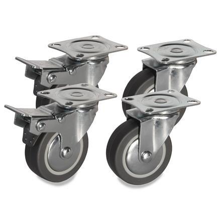 4 Möbelrollen mit Bremse und ohne Bremse