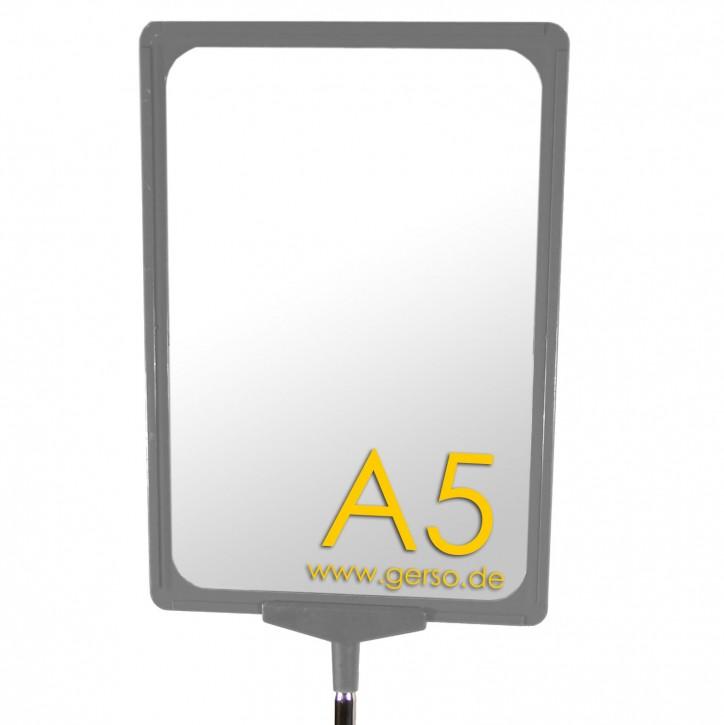 Plakatrahmen A5 grau, mit T-Stück und U-Tasche