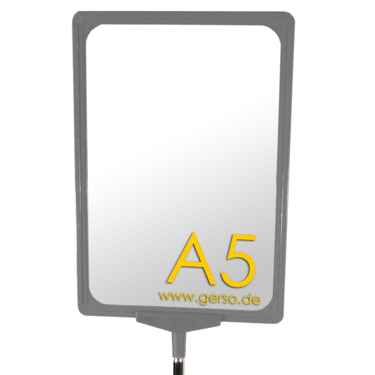 Plakatrahmen A5, grau, mit T-Stück und U-Tasche