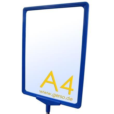 Plakatrahmen A4 in blau mit T-Stück und U-Tasche