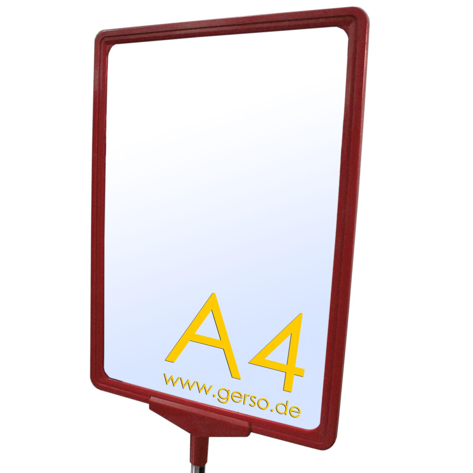 Plakatrahmen A4 rot mit T-Stück und U-Tasche
