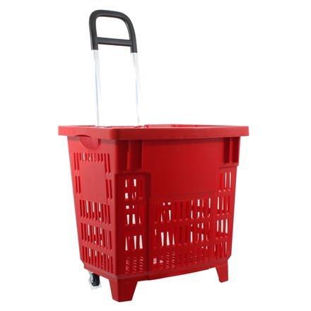 Einkaufstrolley Einkaufskorb m. Rollen 55L Rot