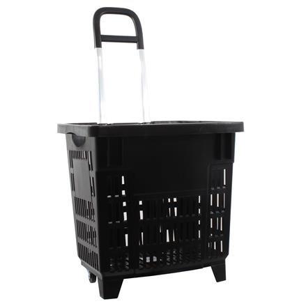 Einkaufstrolley Einkaufskorb m. Rollen 55L Schwarz