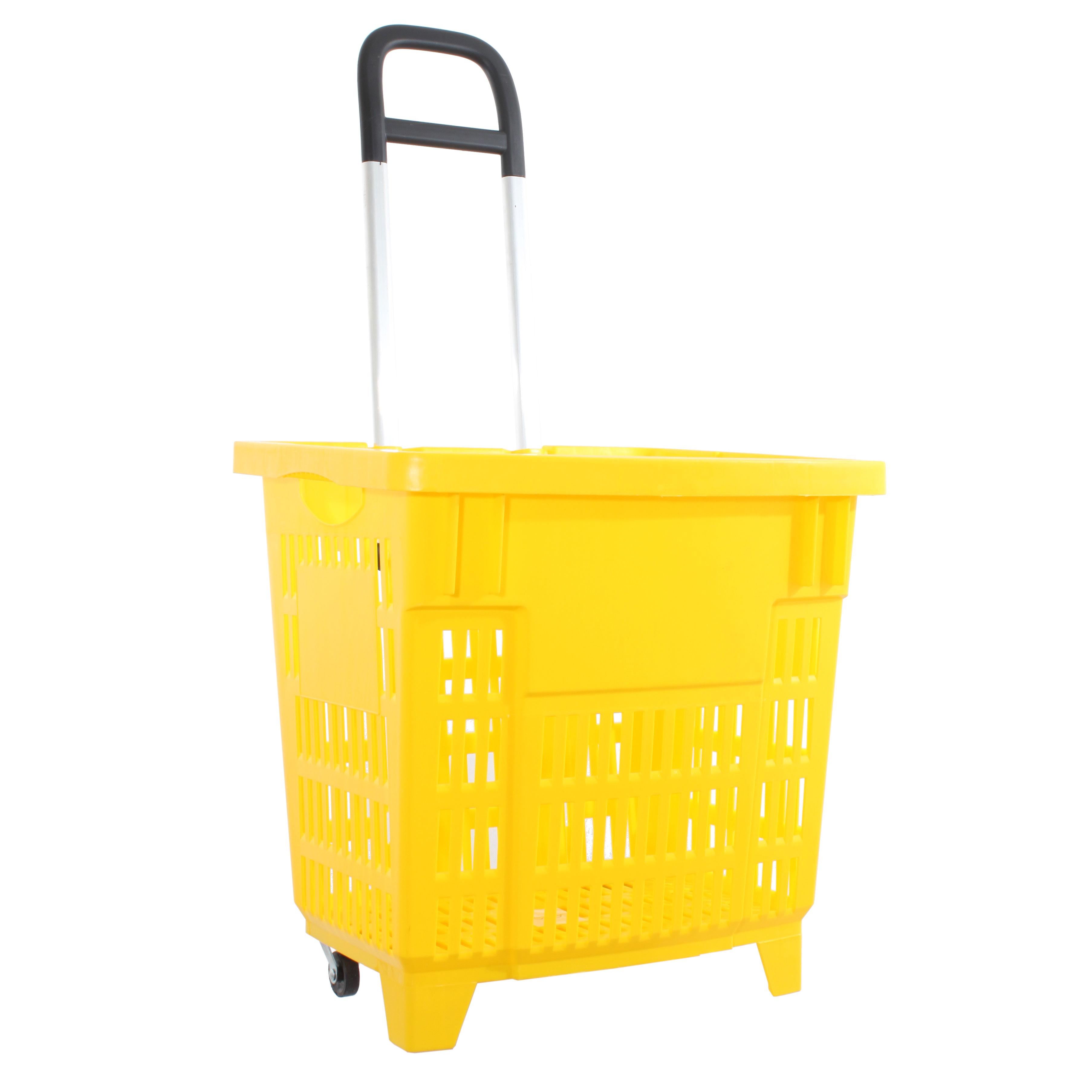 Einkaufstrolley Einkaufskorb m. Rollen 55L Gelb