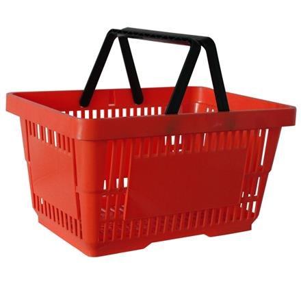 Einkaufskorb mit 2 Bügeln, 21 Liter, rot