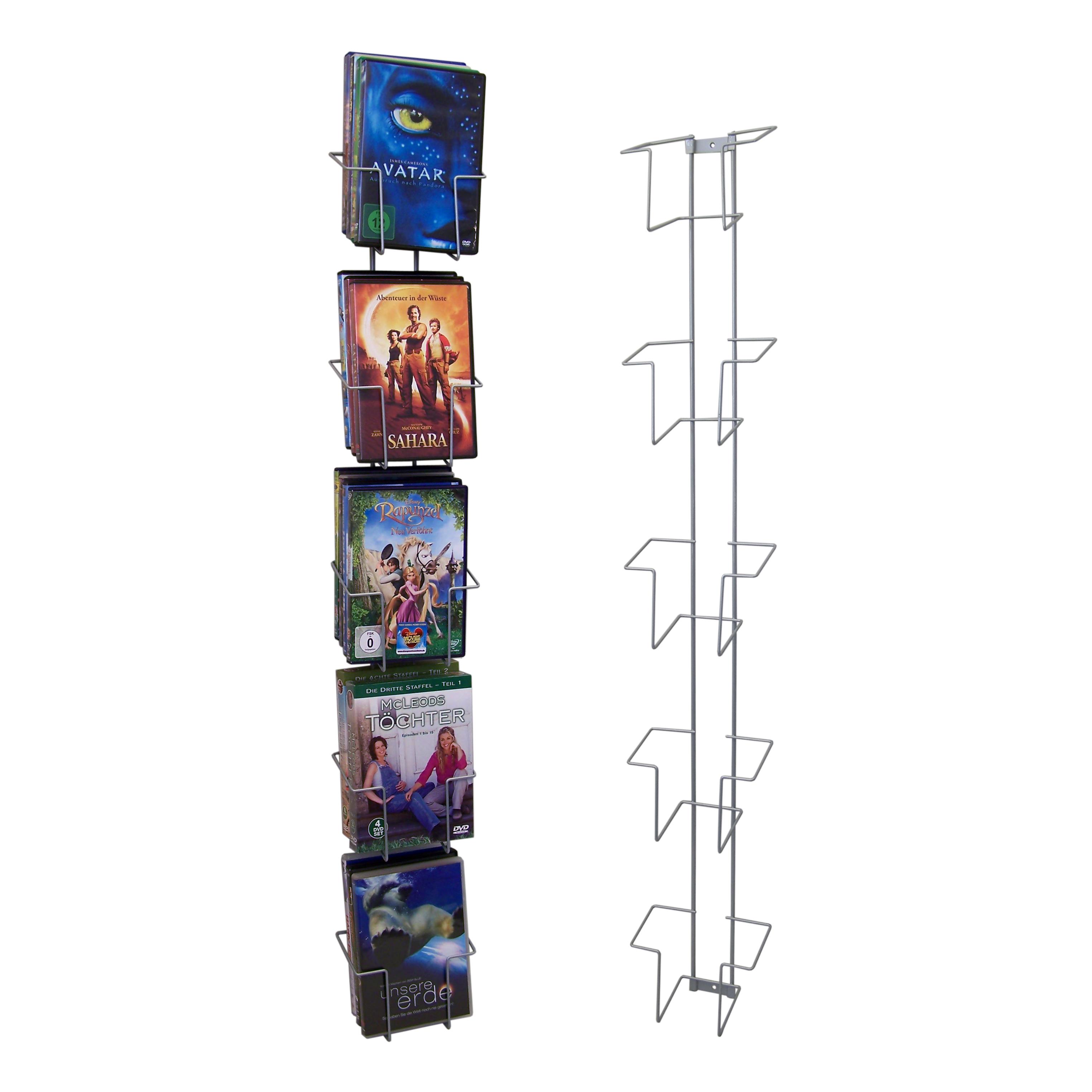 Wandleiste für DVD/ CD mit 5 Fächern