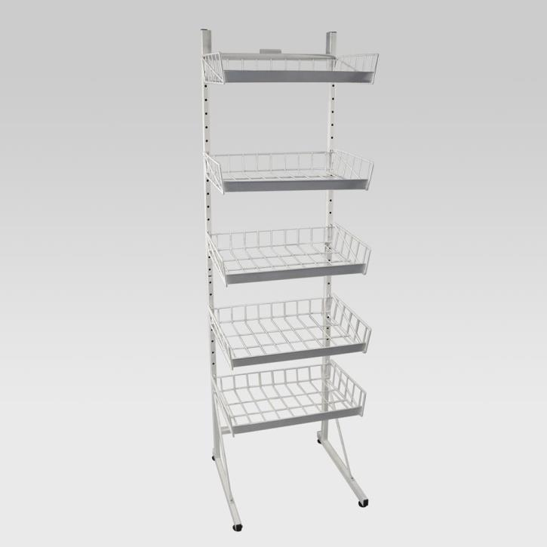 Ständer mit 5 Körben, 175x52x53cm, weiß