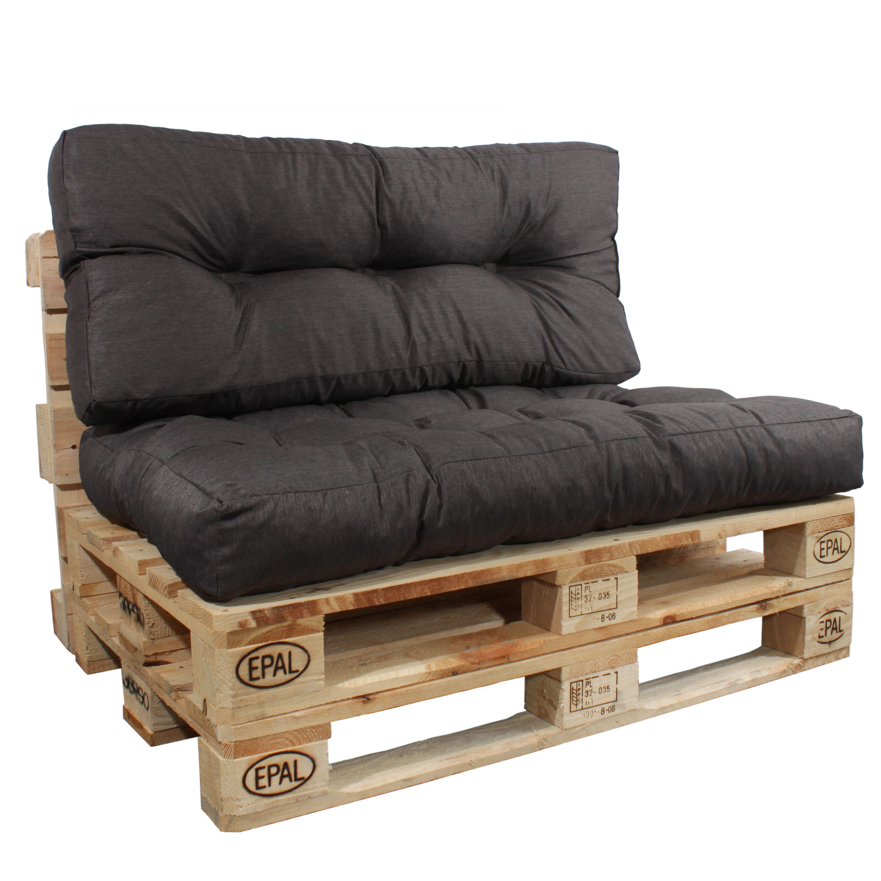 Rückenlehne und Sitzkissen in braun für Paletten