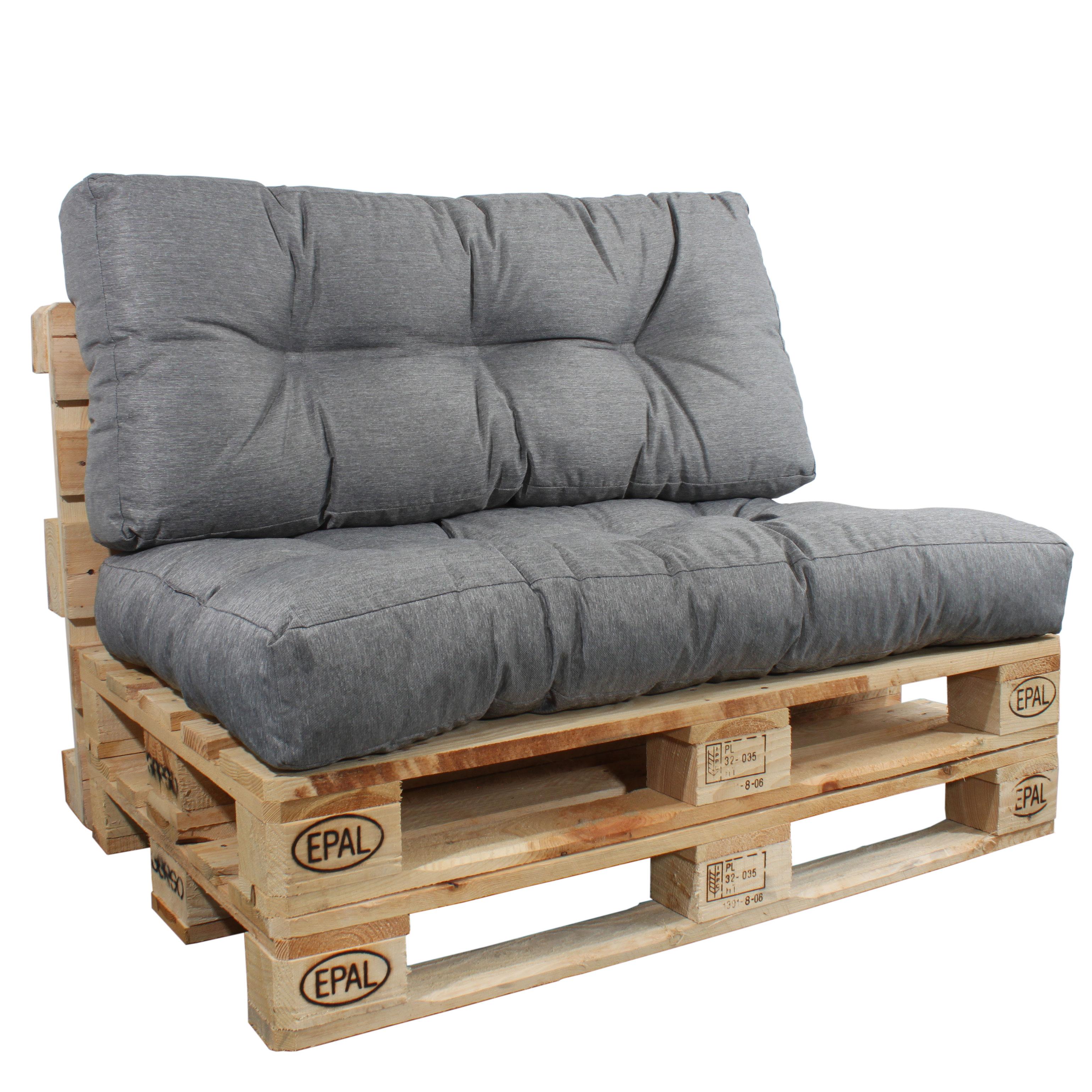Rückenlehne und Sitzkissen in grau für Paletten