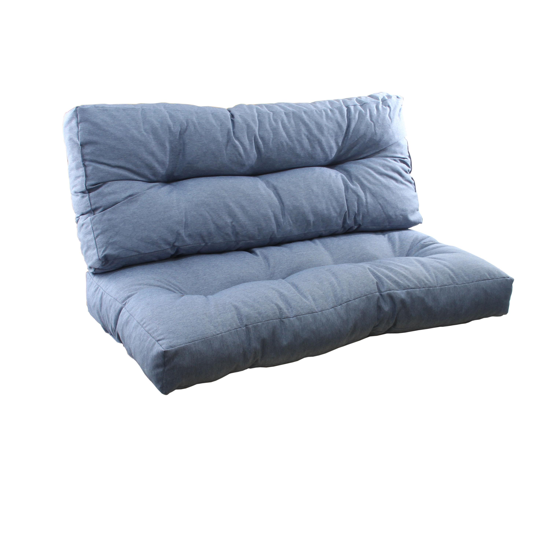 Sitzkissen und Rückenlehne Komplettset Blau
