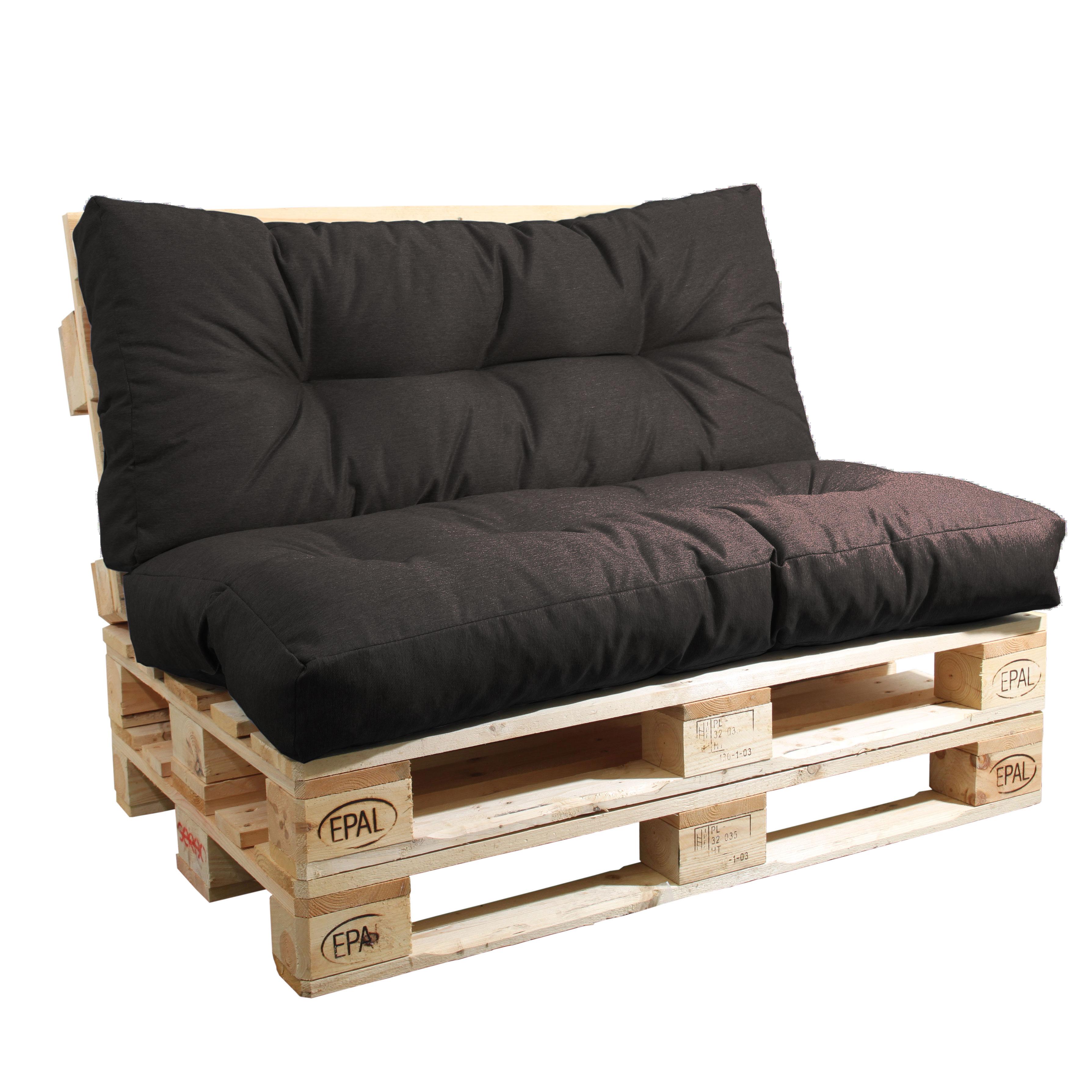 Sitzkissen und Rückenlehne Komplettset Braun
