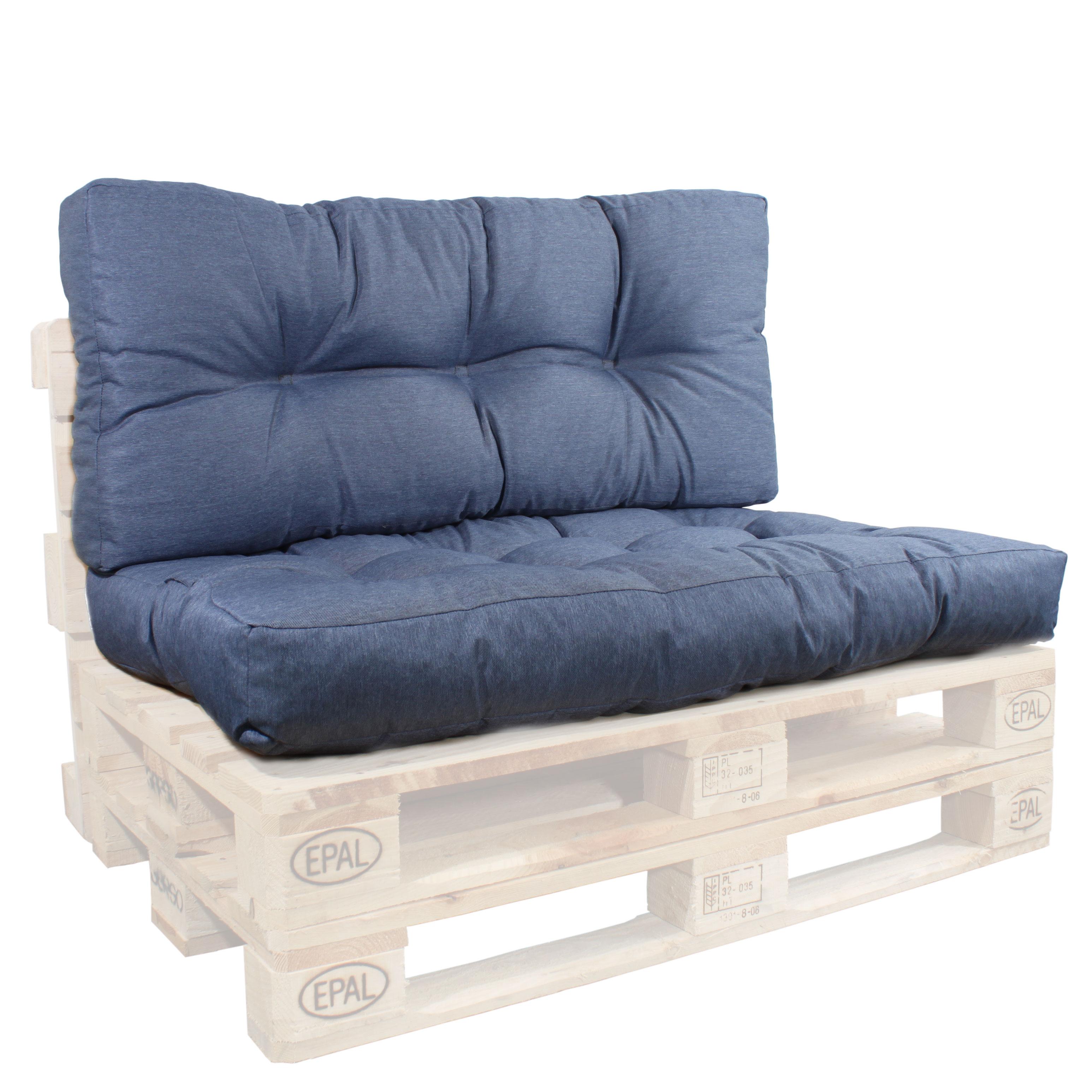 Rückenlehne und Sitzkissen in blau für Paletten