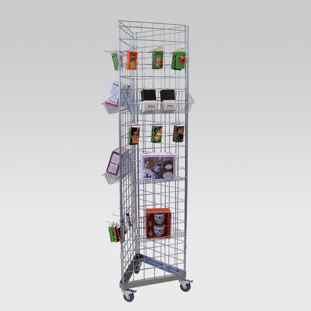 Gitterständer mit 3 Gittern, rollbar, verzinkt