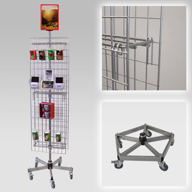 Gitterständer mit 2 Gittern, rollbar Fuß verstärkt