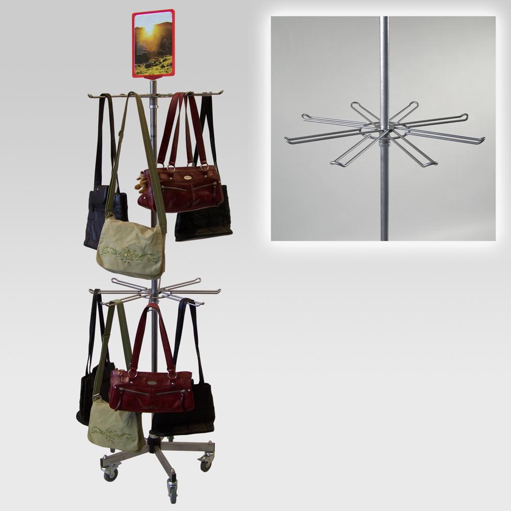 Taschenständer mit 2 Hakenkränzen für Handtaschen