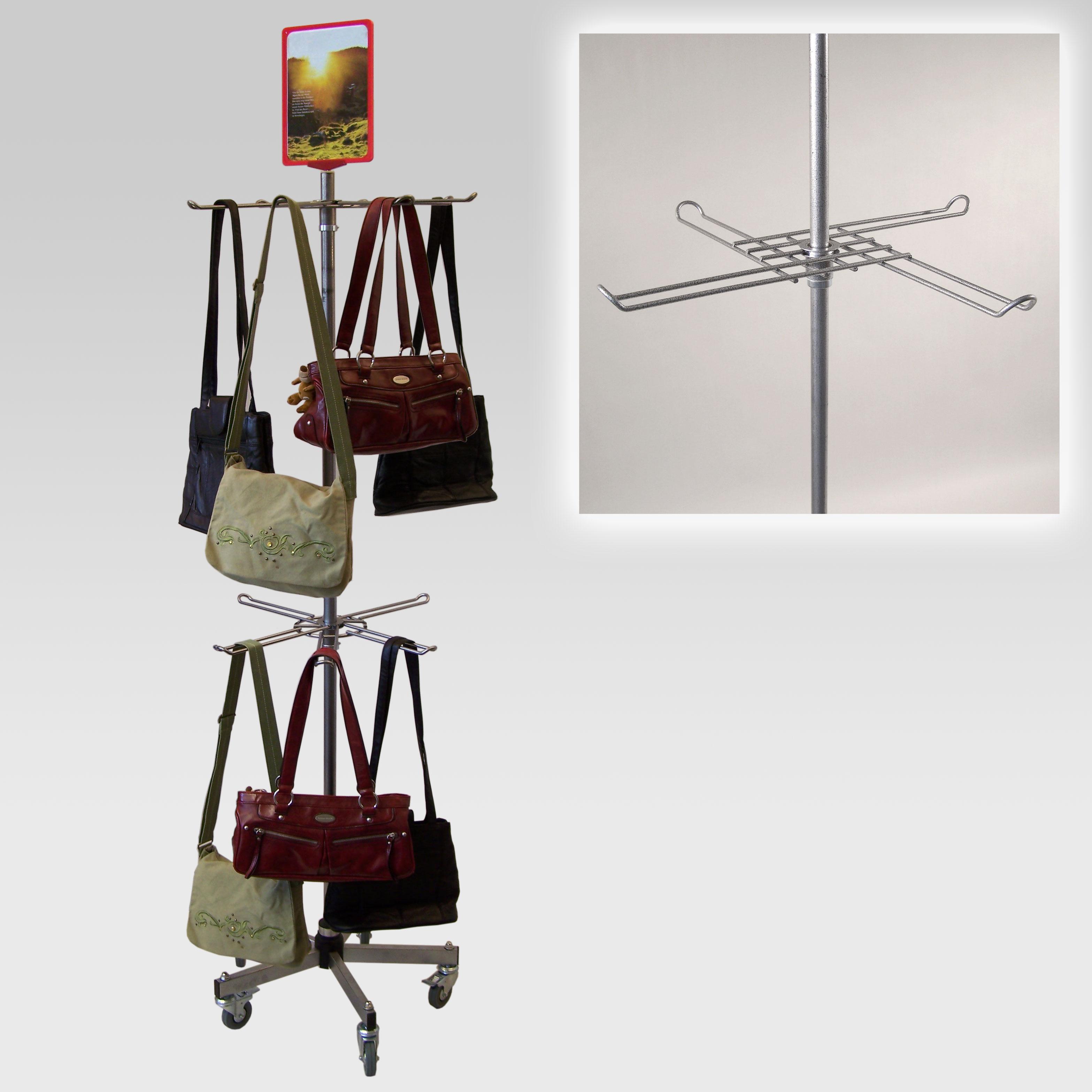Taschenständer mit 2 Hakenkränzen, Fuß Standard