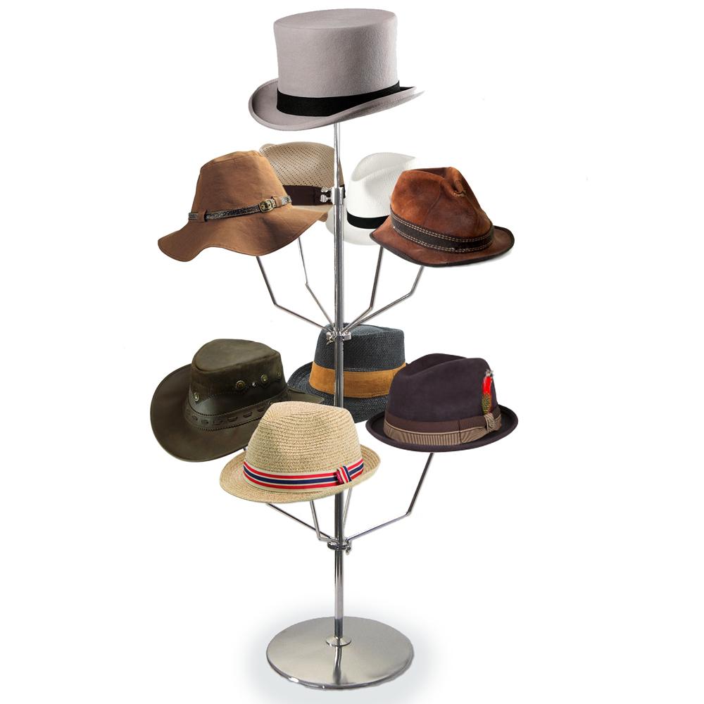 Theken-Hutständer, verchromt, mit 9 Hut-Auflagen