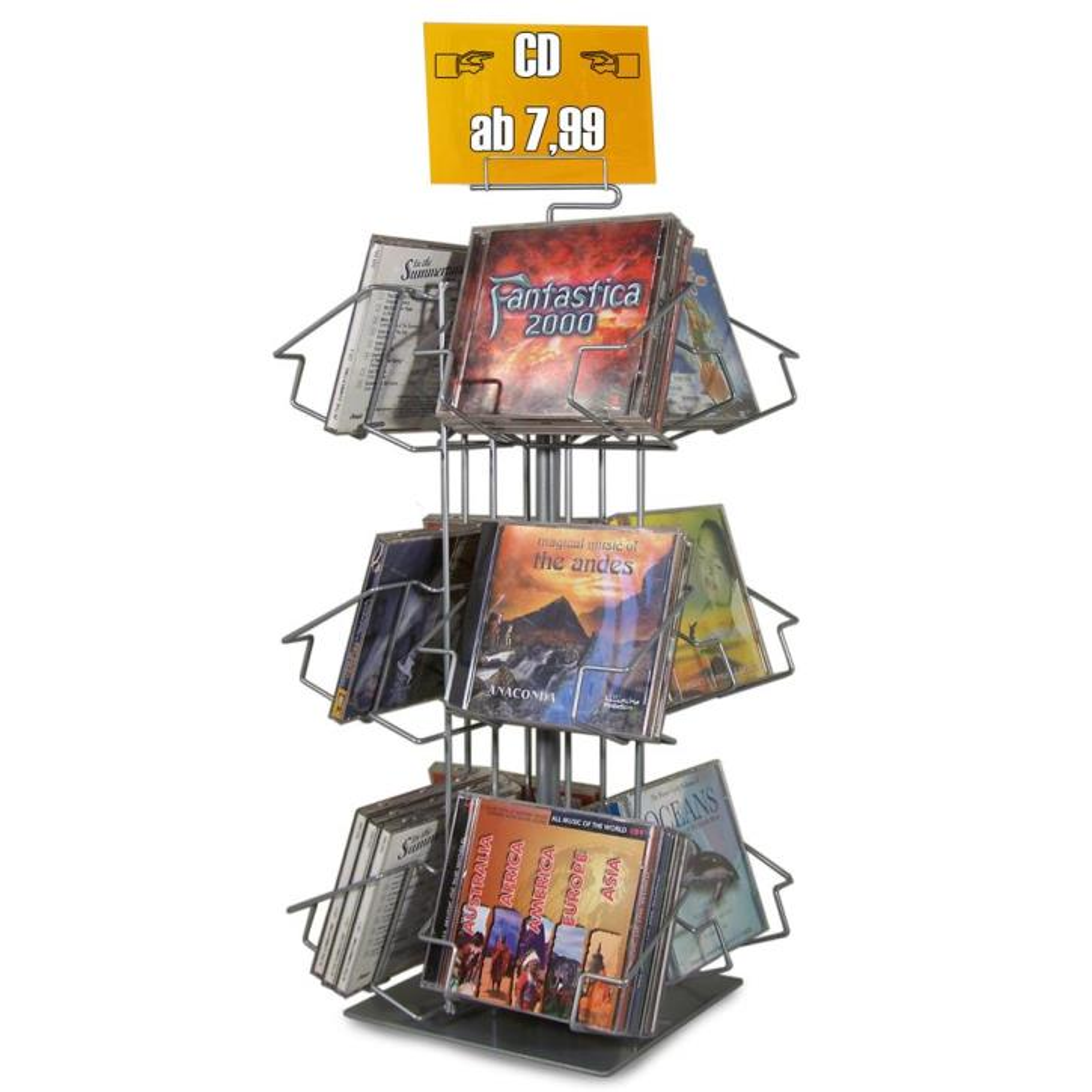 Thekenständer mit 12 Fächer für CDs und DVDs