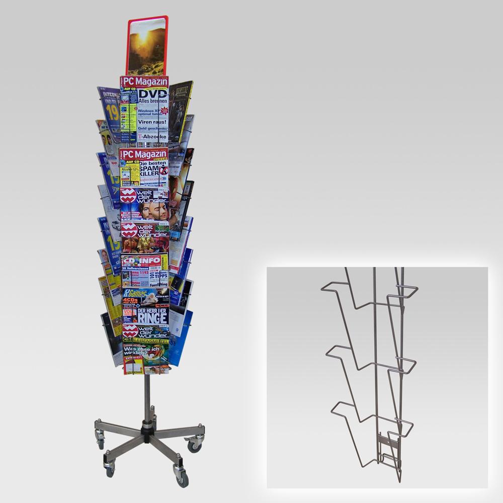 Kombi-Ständer mit 3 Leisten A4, Fuß standard