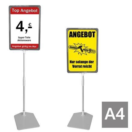 Plakatständer A4 grau Höhe flexibel 320-620mm