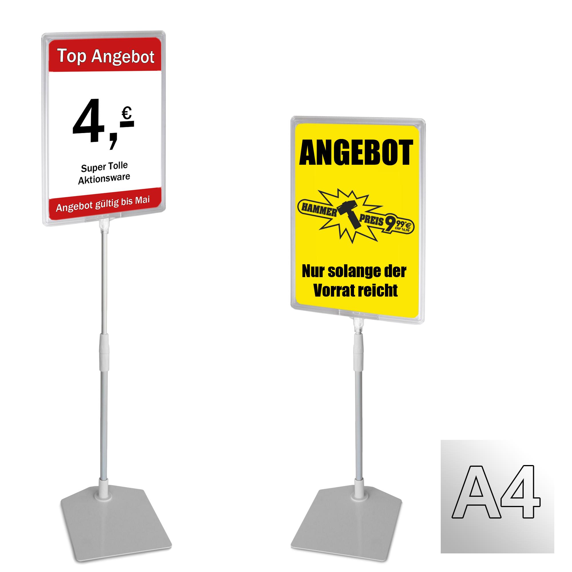 Plakatständer A4 transparent Höhe flexibel 320-620