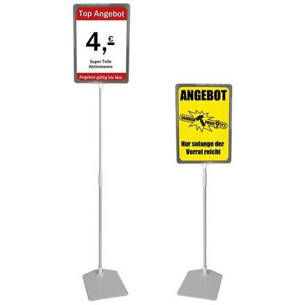 Plakatständer A4 grau Höhe flexibel 750-1500mm