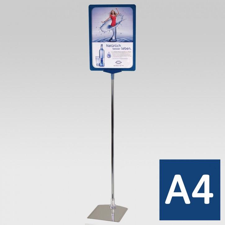 Plakatständer A4 Teleskoprohr 32-62cm blau