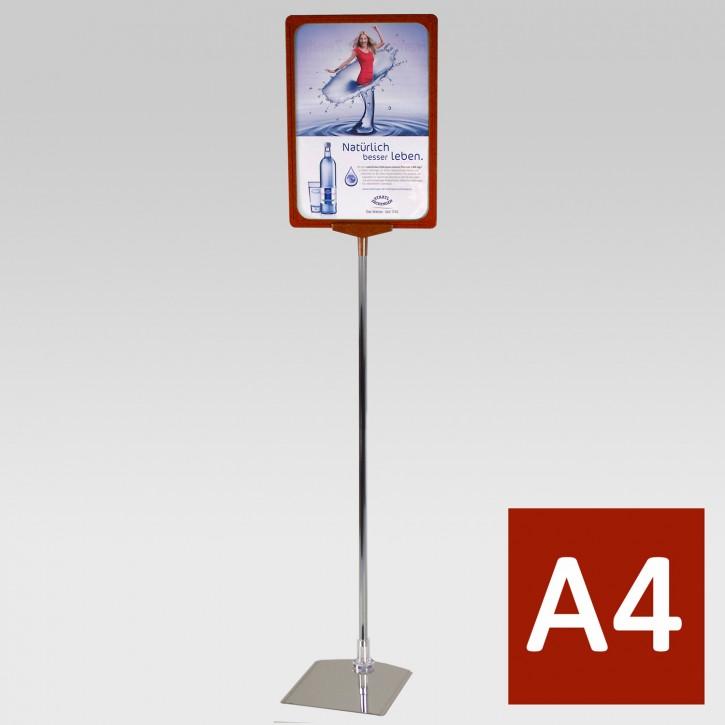 Plakatständer A4 Teleskoprohr 32-62cm rot
