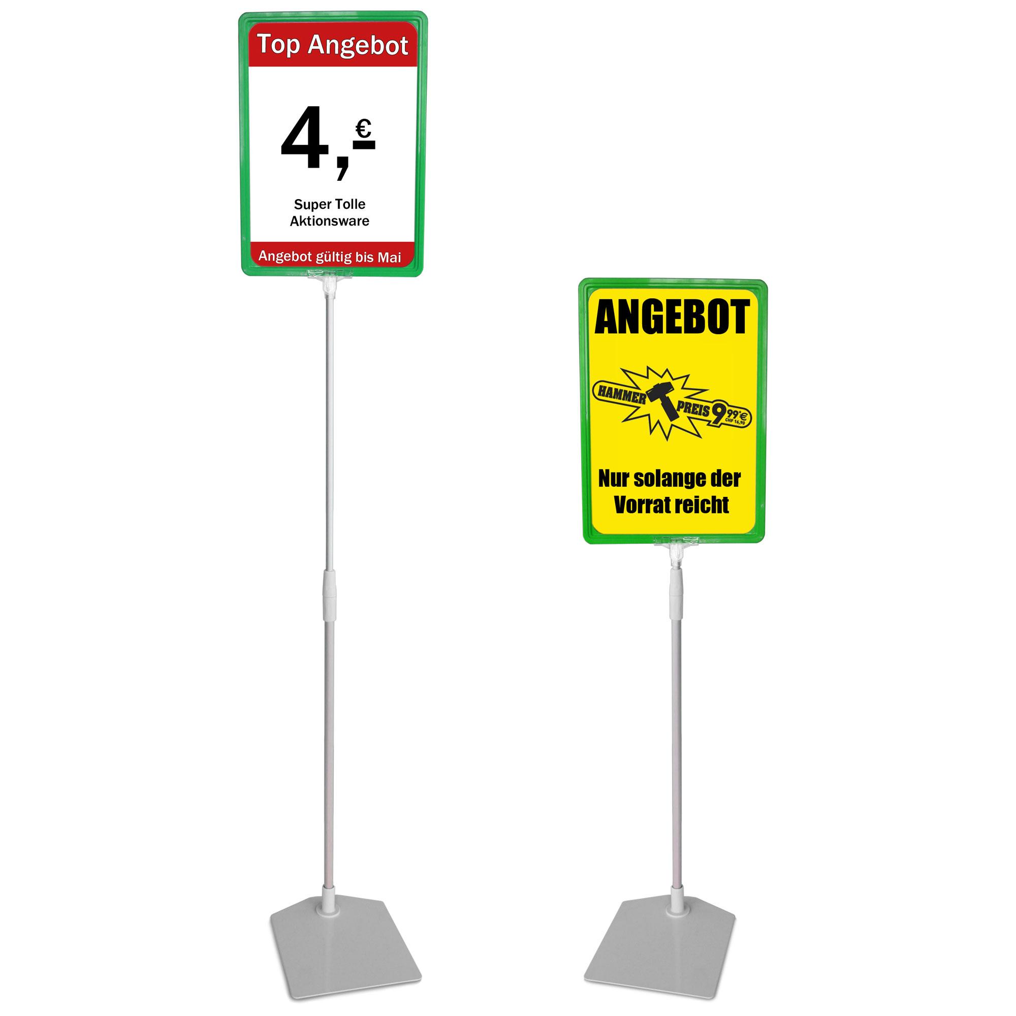 Plakatständer A4 grün Höhe flexibel 320-620mm
