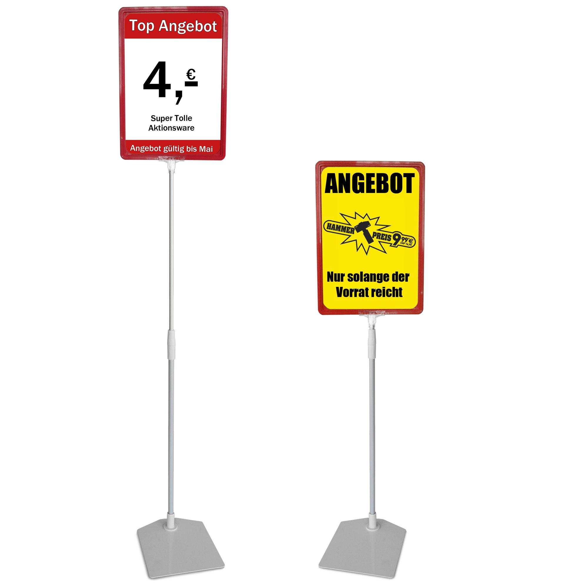 Plakatständer A4 rot Höhe flexibel 750-1500mm
