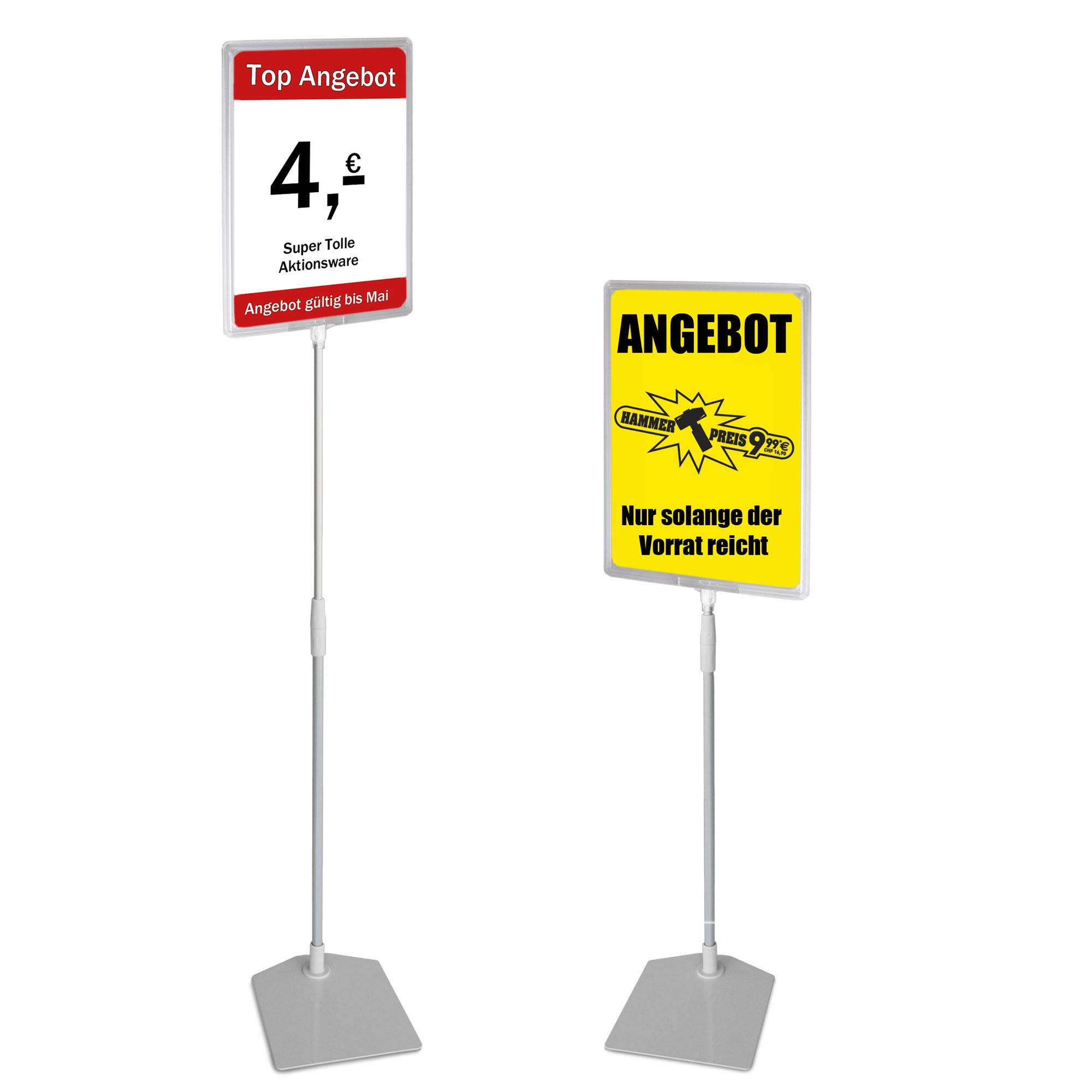 Plakatständer A4 transparent Höhe flexibel 750-1500mm