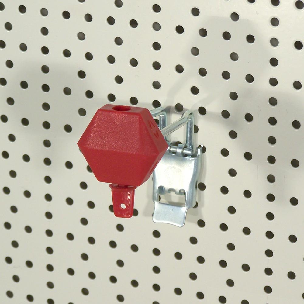 Kunststoff-Schloss für Lochwandhaken in rot
