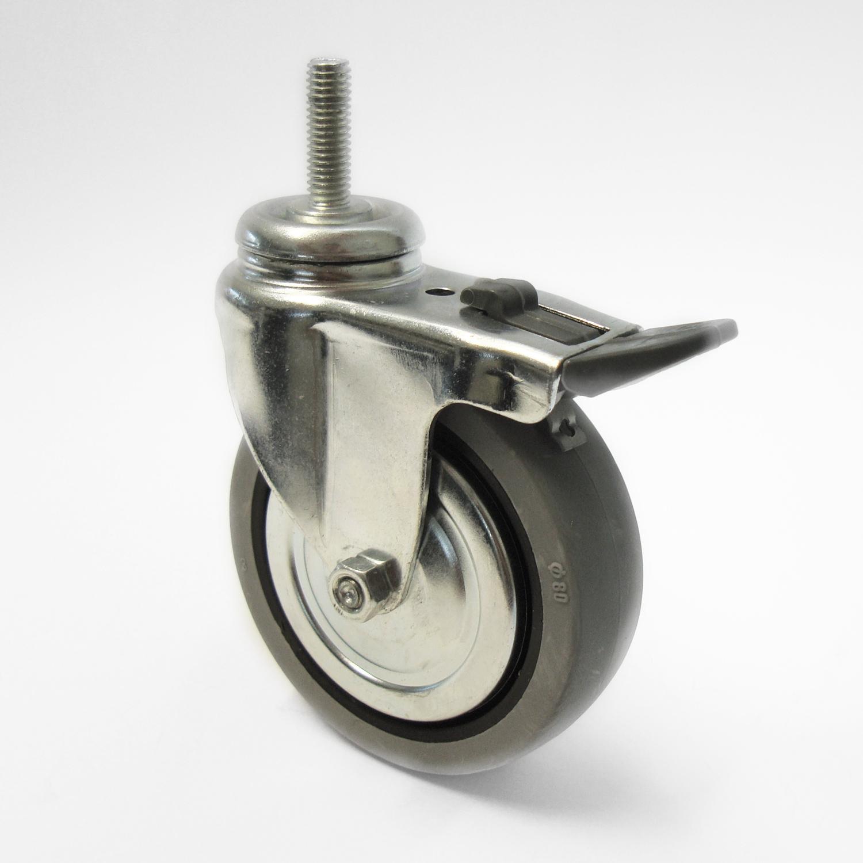 Rolle mit Bremse D=80 mm, M8 Gewinde , grau