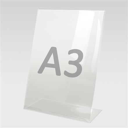 Tischaufsteller L-Aufsteller für Format A3, Acryl