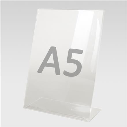 L-Aufsteller für Format A5 aus Acryl
