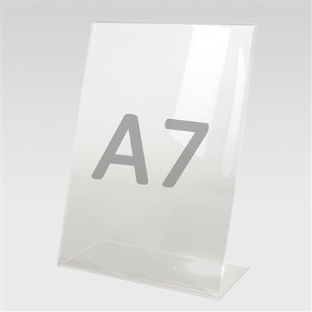 Tischaufsteller L-Aufsteller für Format A7, Acryl