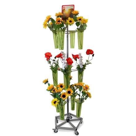 Blumenständer mit 3 Kränzen und 12 Blumenvasen