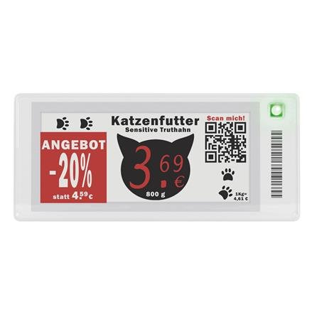 ePaper-Display, voll grafikfähig  66,9 x 29,06mm