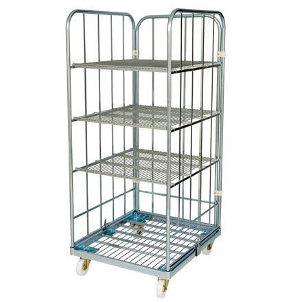 Rollregal mit Stahlrollpalette und 3 Regalböden