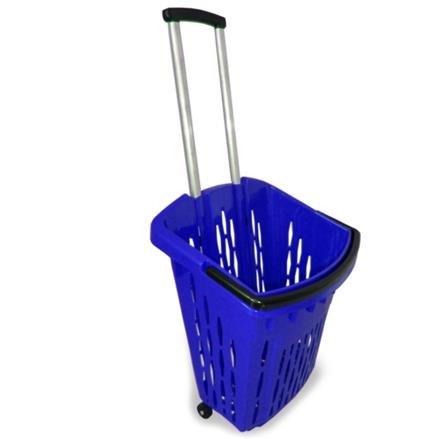 Einkaufstrolley Einkaufskorb mit Rollen ca.40L Blau