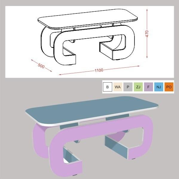 Verkaufstisch Tisch mit charakteristischen Rundung