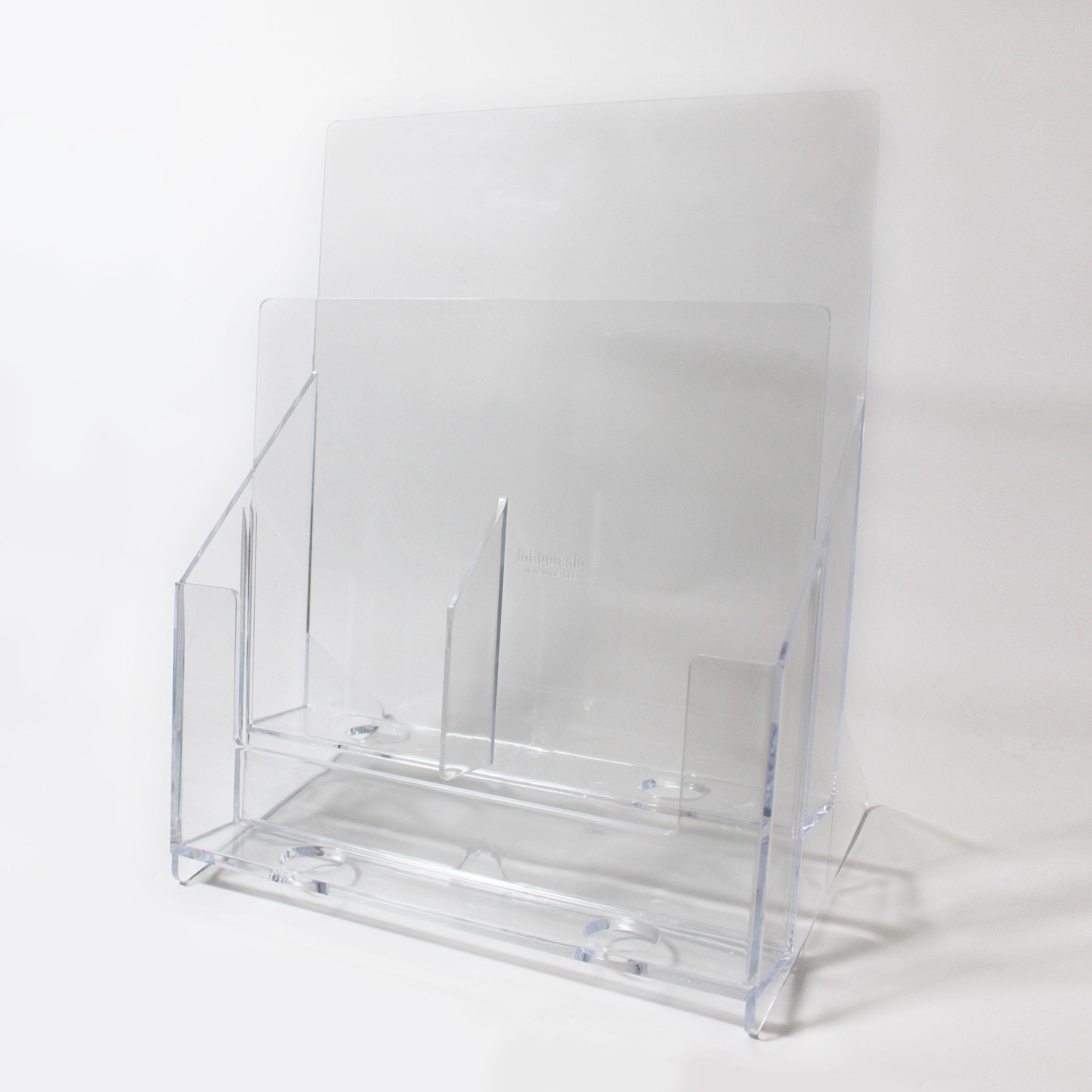 Prospektständer 1 x A4 und 2 x DIN Lang Acryl