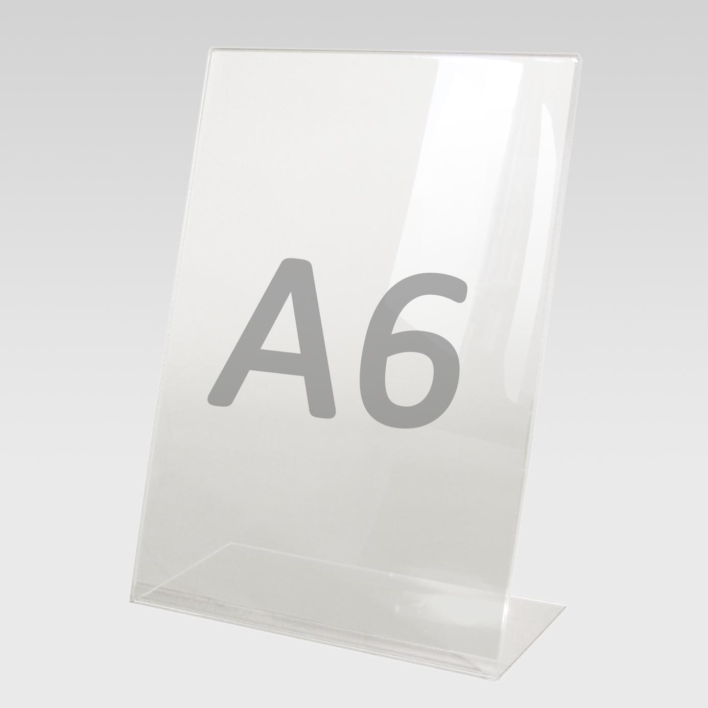 Tischaufsteller L-Aufsteller für Format A6, Acryl