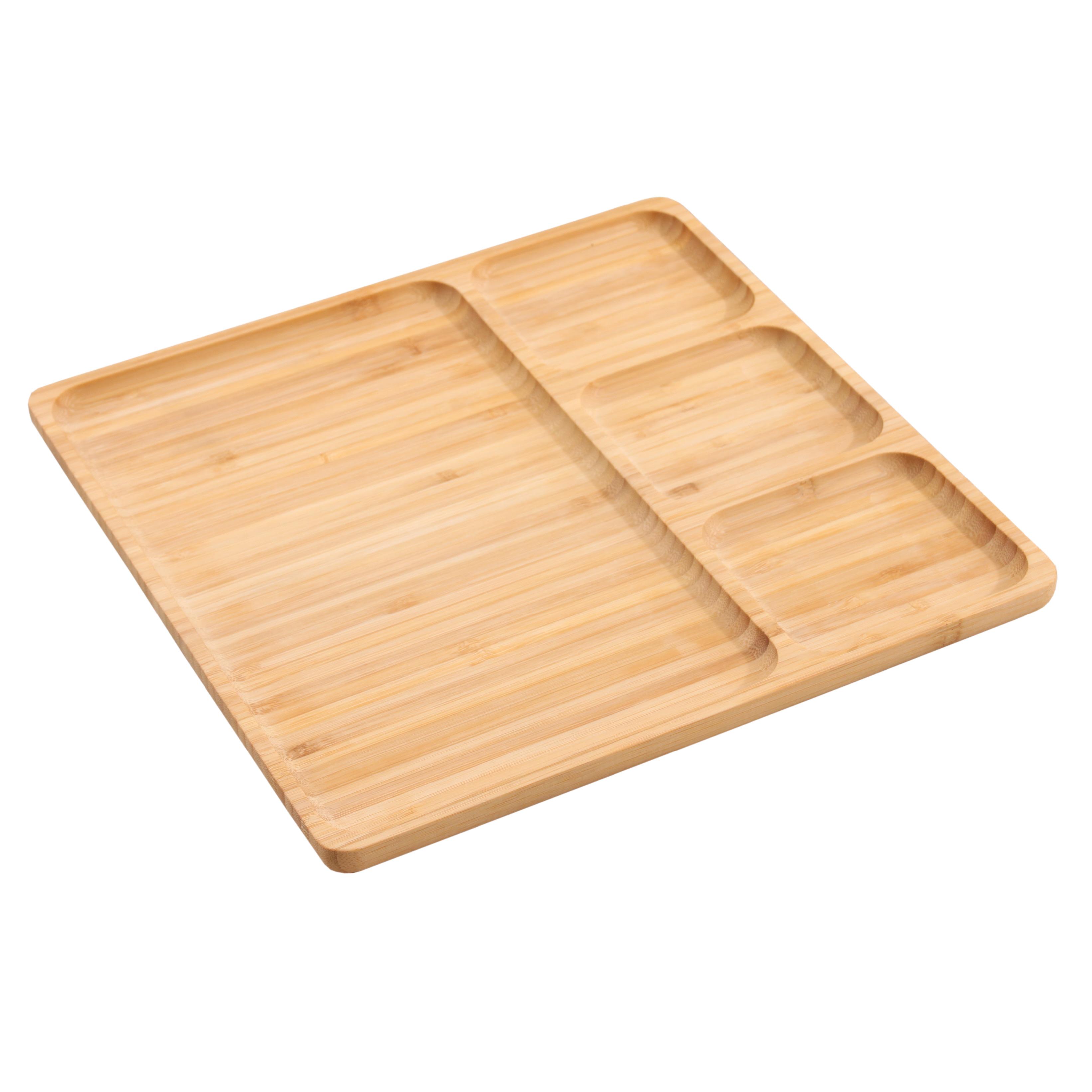 Snackplatte aus Bambus 28cm zur Präsentation von Snacks, Sushi, Salaten für Haushalt und Gastronomie