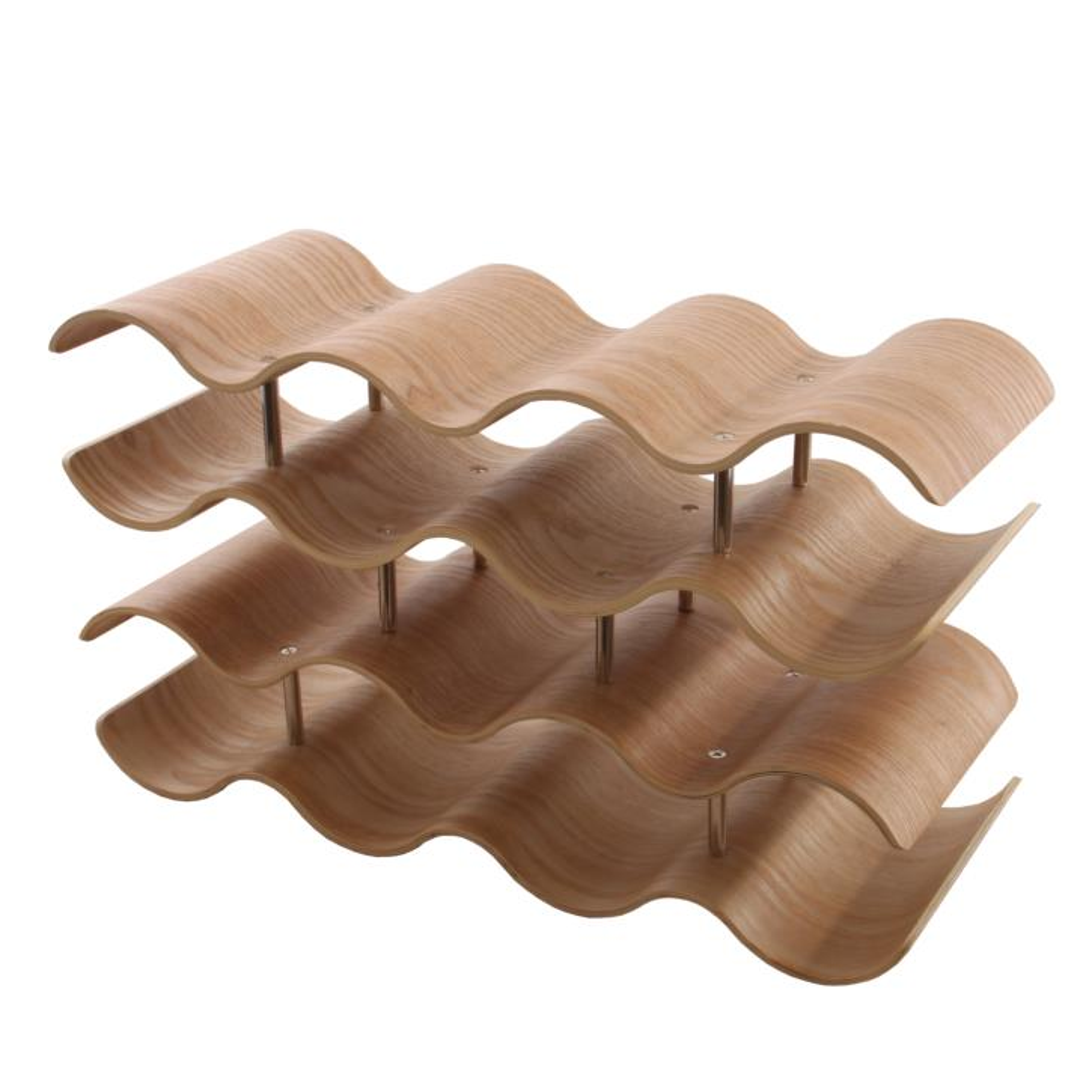 wellenförmiges Weinregal aus nachhaltigem Holz für 14 Flaschen Wein oder Sekt