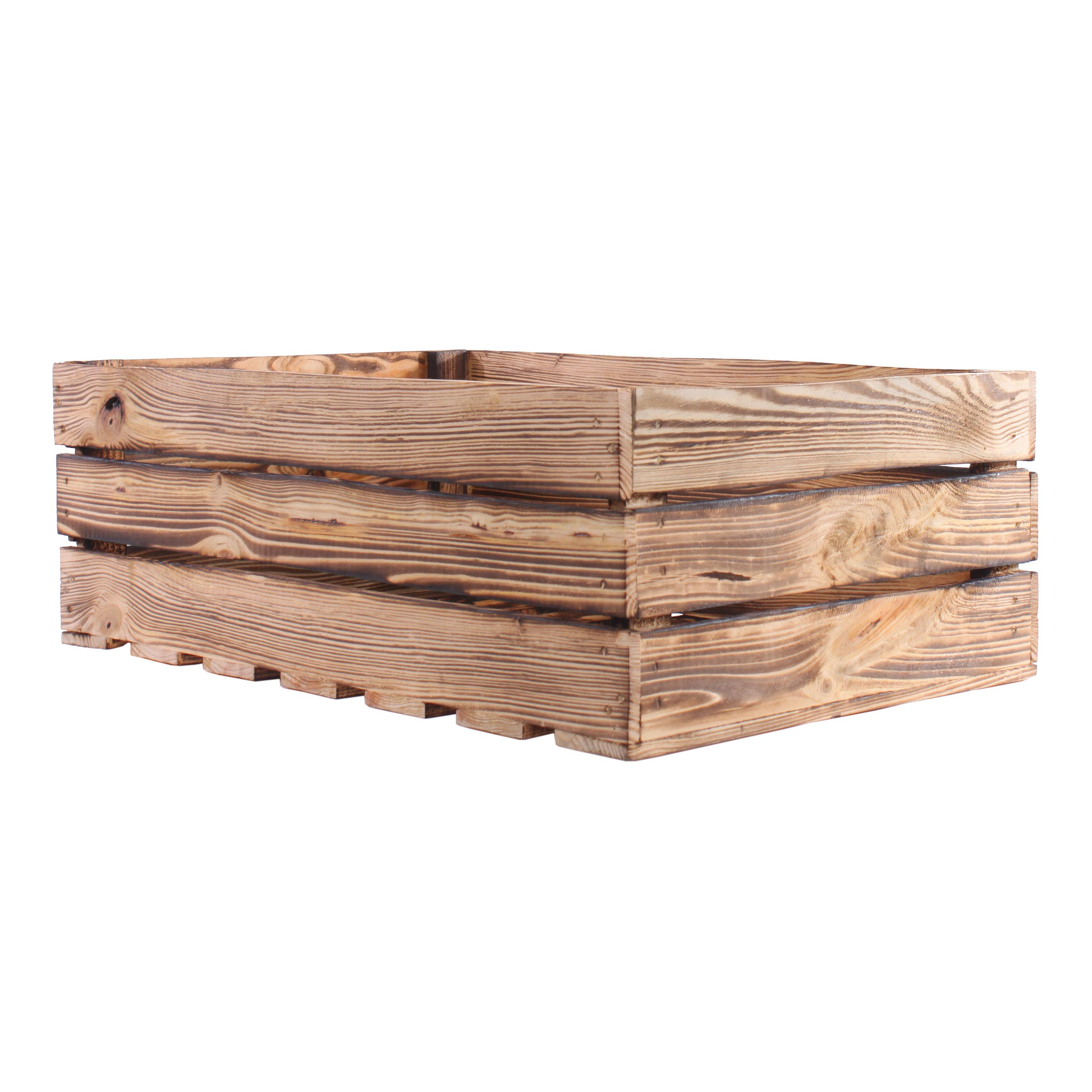 Deko Holzkiste geflammt 60x40x21cm Obstkiste Holzbox