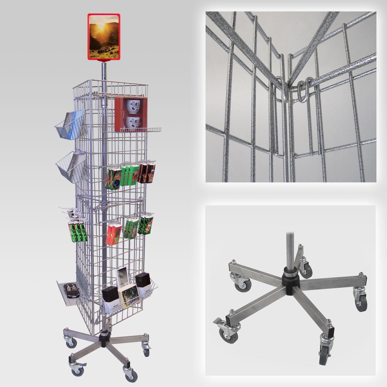 Gitterständer mit 3 Gittern, rollbar, Fuß standard