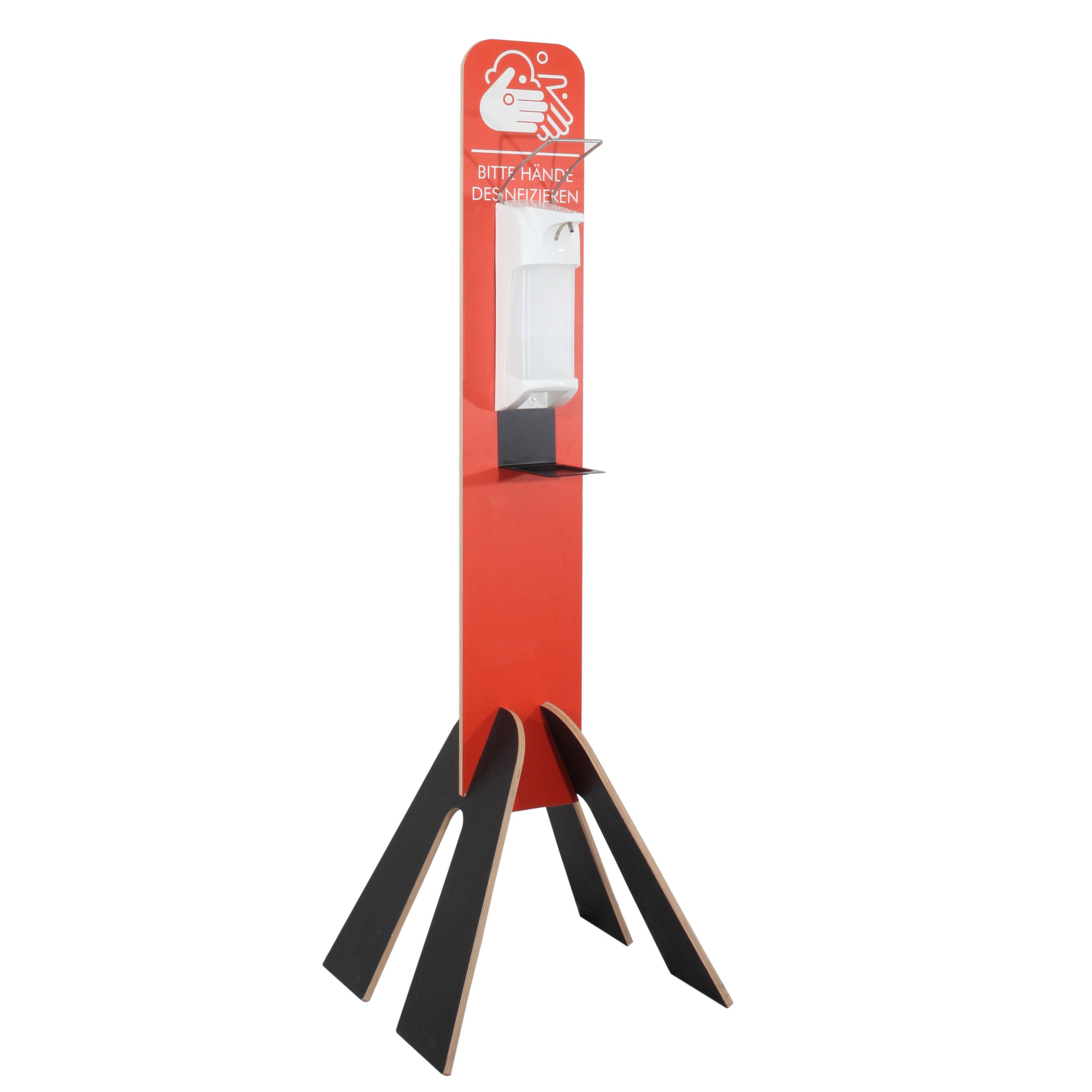 Hygieneleichtbau rot mit Metallspender und Tropfschale