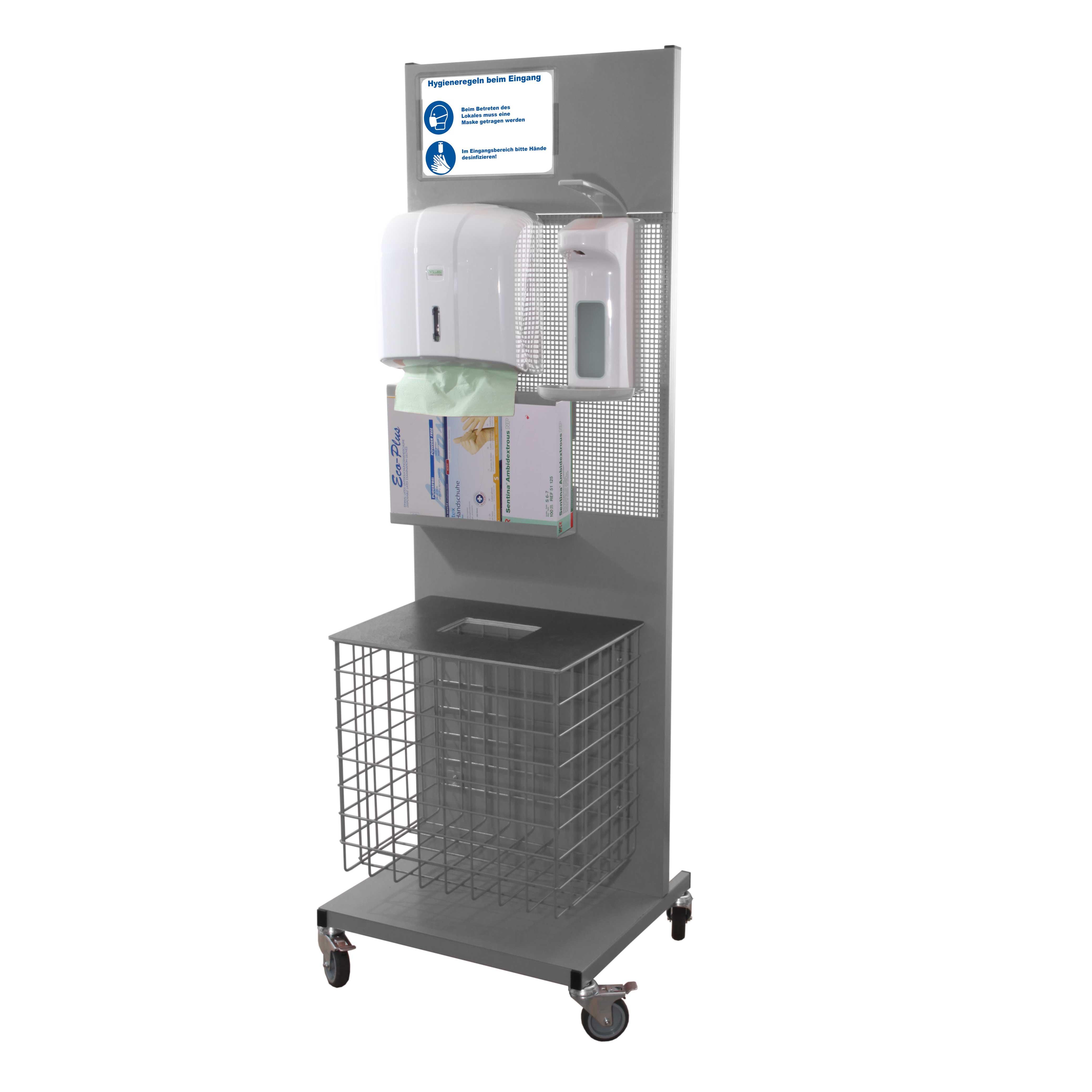 Hygienestation aus Metall Komplett RAL 7026